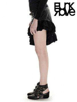 Steampunk Leather Flounce Skirt - Black