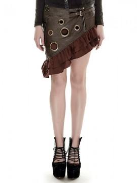 Steampunk Leather Flounce Skirt - Coffee