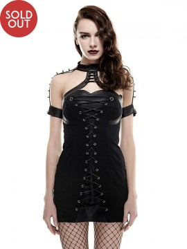 Gothic Warrior Woman Leather Rivet Dress