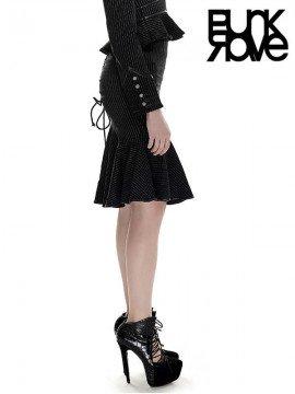 Drawstring Military Uniform Fishtail Skirt - Black