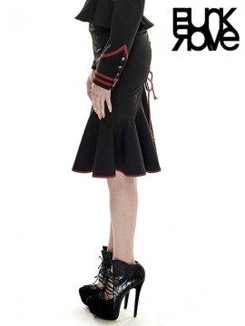 Drawstring Military Fishtail Skirt - Black & Red