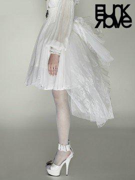 Gothic Swallow Tail Mesh Skirt  - White