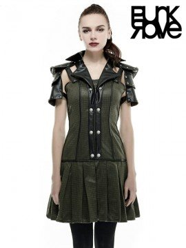 Gothic Military Warrior Dress - Army Green