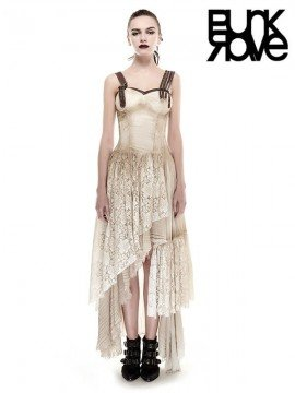 Steampunk Leather & Lace Dress - Khaki