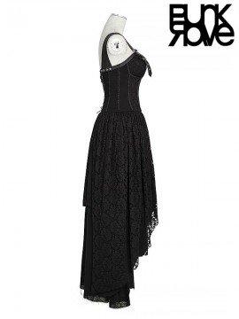 Steampunk Leather & Lace Dress - Black