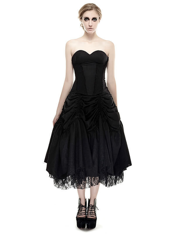 Gothic Strapless Linen Dress