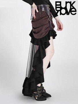 Steampunk High Low Gathered Skirt