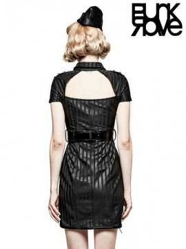 Punk Military Striped Bicast Leather Dress