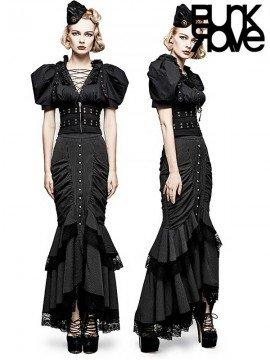 Steampunk Layered Fishtail Long Skirt - Black