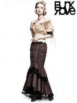Steampunk Layered Fishtail Long Skirt - Coffee