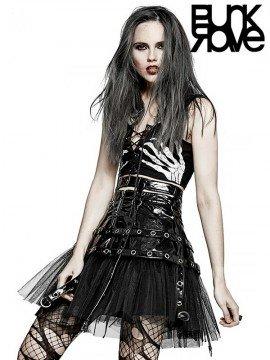 Punk Japanese Black Leather & Mesk Skirt