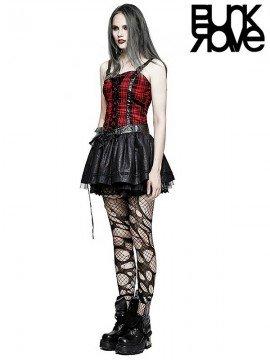 Punk Black & Red Plaid Party Dress