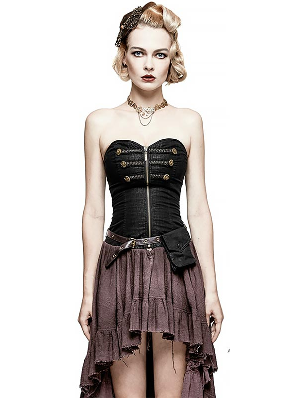 Steampunk Strapless Dress - Coffee