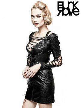 Punk Drawstring Leather Dress