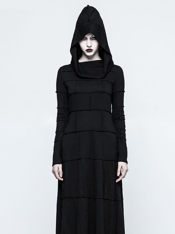 Gothic Multi-Layered Long Sleeve Dress with Hood