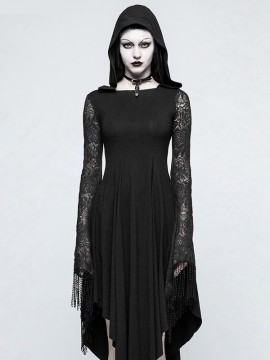 Gothic Spiderweb Back Dress with Hood