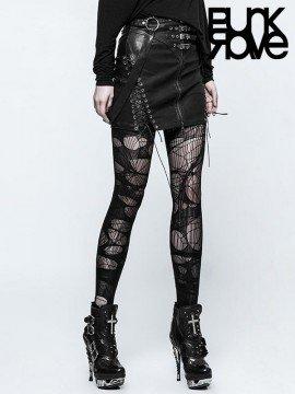 Punk Black Leather Half Skirt