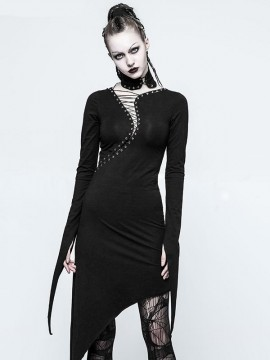 Gothic Dark Knit Drawstring Dress