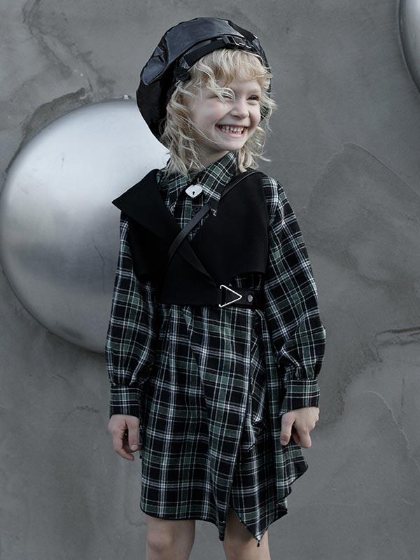 Gothic Asymmetrical Shirt Dress - Black & Green Plaid