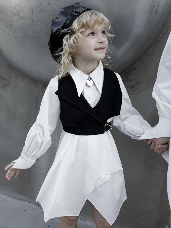 Gothic Asymmetrical Shirt Dress - White