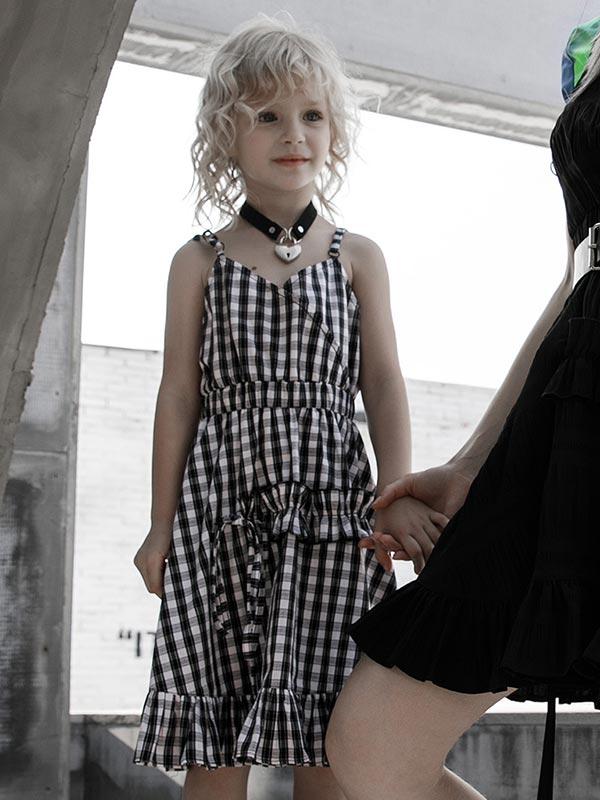 Black & White Checkered Slip Dress