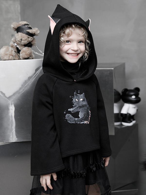 Cat Print Velvet Hoodie with Cat Ears - Black