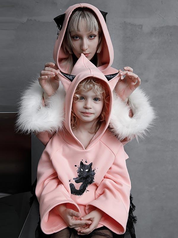 Cat Print Velvet Hoodie with Cat Ears - Pink