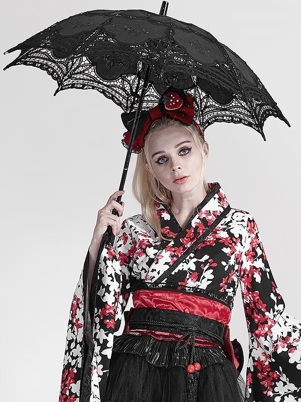 Gothic Lolita Black Floral Lace Umbrella