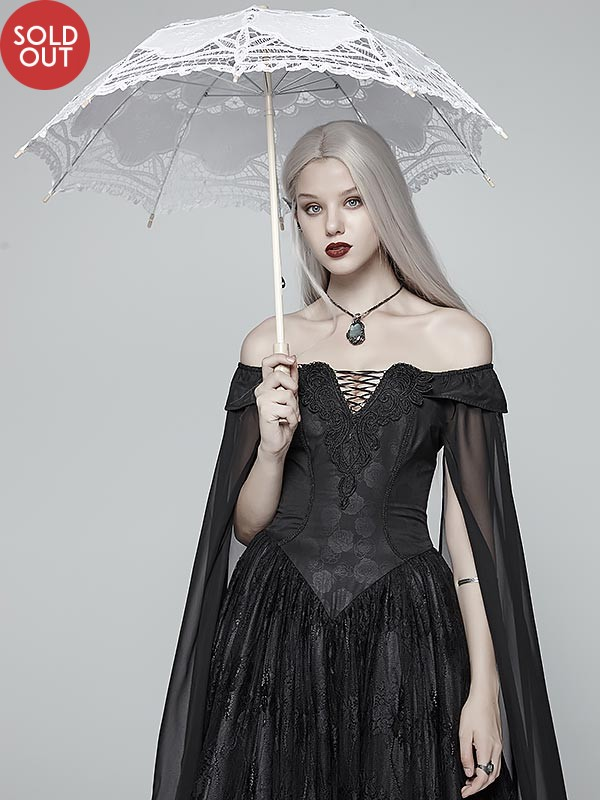 Gothic Lolita White Floral Lace Umbrella