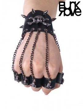 Punk Skull Rivet Leather Bracelet with Finger Rings