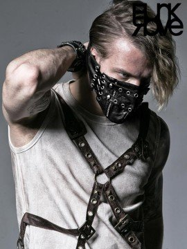 Mens Steampunk Leather & Rivet Decorated Mask - Black