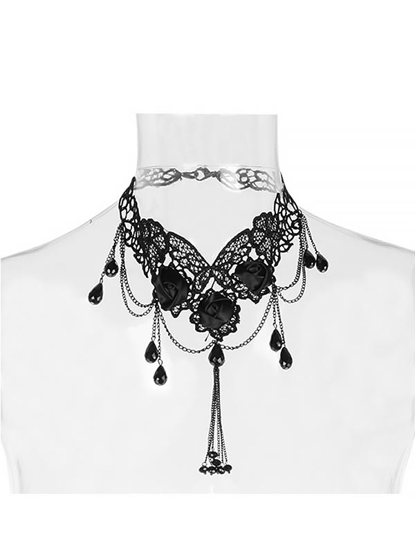 Gothic Flower Teardrop Beading & Embroidery Necklace
