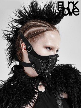 Punk Spiked Metal Rivets Leather Muzzle Mask