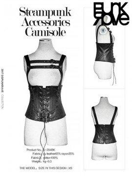 Steampunk Under Bust Leather Camisole - Black