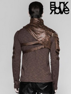 Mens Steampunk Warrior Warlord Shoulder Harness with Pocket - Coffee
