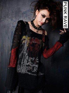 Punk Skull Print Graffiti Long Sleeve T-Shirt - Red
