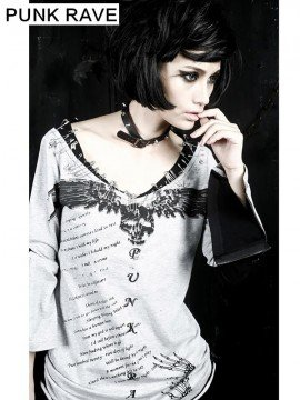 Punk Ghost Diary Print & Safety Pin Long Sleeve T-Shirt - White