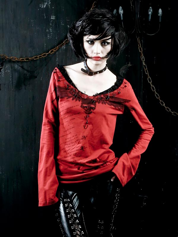 Punk Ghost Diary Print & Safety Pin Long Sleeve T-Shirt - Red