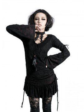 Gothic Lace T-Shirt Dress - Black & Red Rose