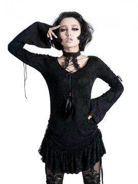 Gothic Lace T-Shirt Dress - Black & Violet Rose