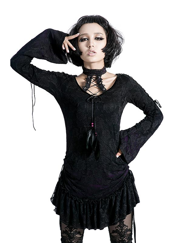 Gothic Lace T-Shirt Dress - Black & Violet Rose