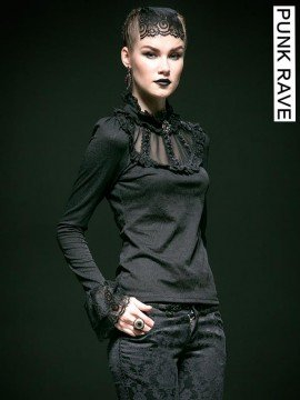 Gothic Embroidered Rose Lace Long Sleeve Top