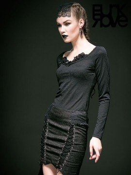 Gothic Rose Knit Long Sleeve Top