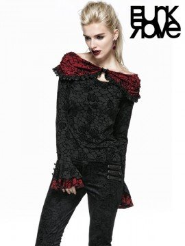 Gothic Black Rose Print Top with Red Cape