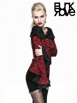 Gothic Red Rose Print Top with Black Cape