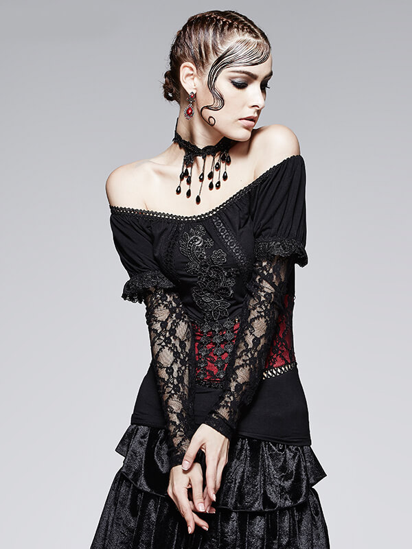 Gothic Lace Top - Black & Red Rose
