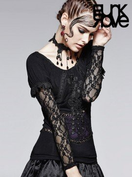 Gothic Lace Top - Black & Violet Rose