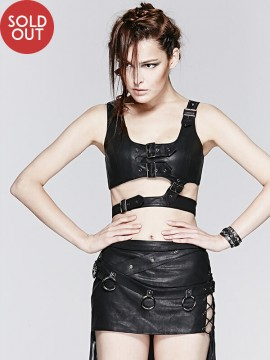 Detachable Punk Leather Crop Top