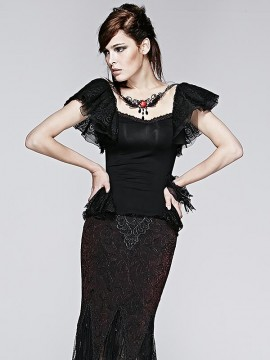 Gothic Butterfly Top with Blood Rose Pendant Collar
