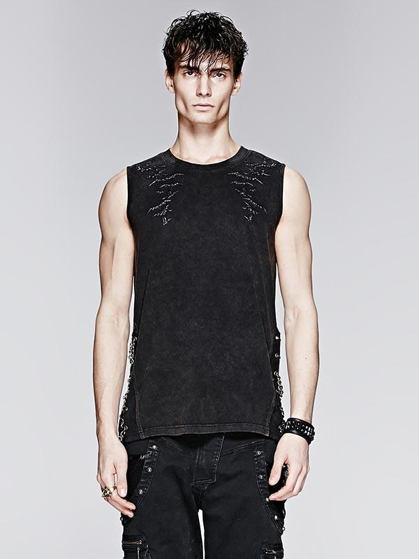 Mens Punk Bat Print Sleeveless T-Shirt